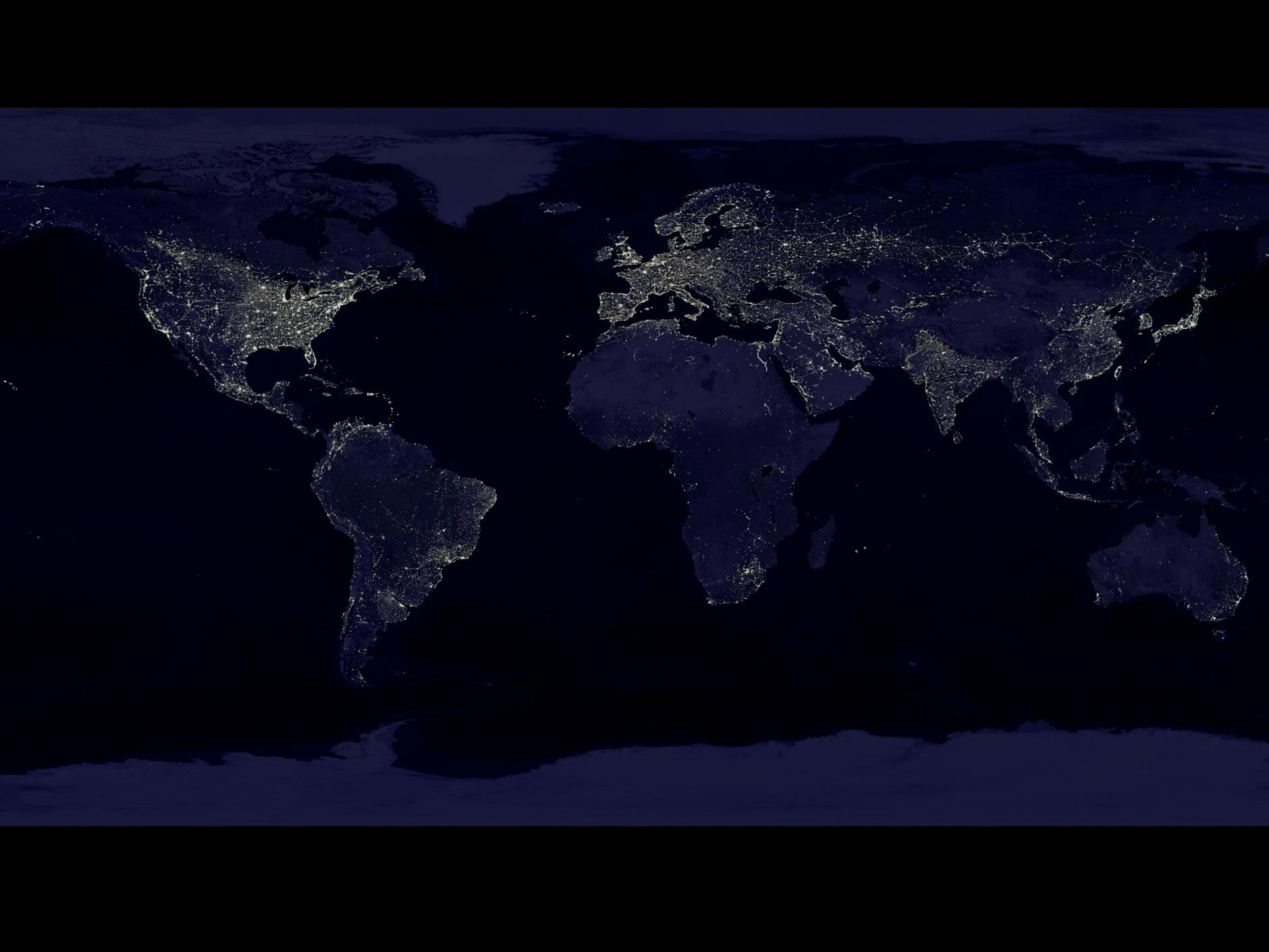 Global image of city lights.