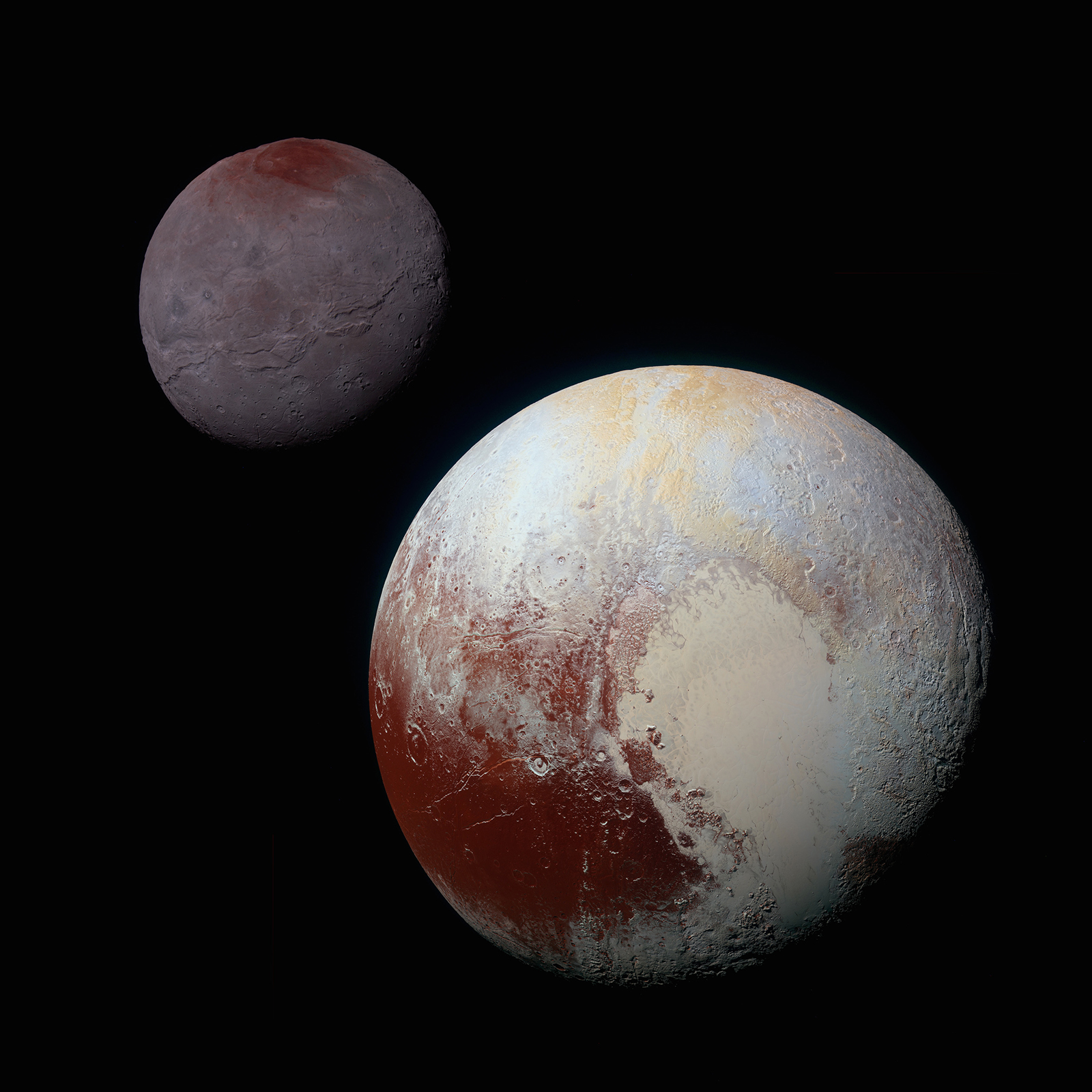 Pluto in front of Charon.