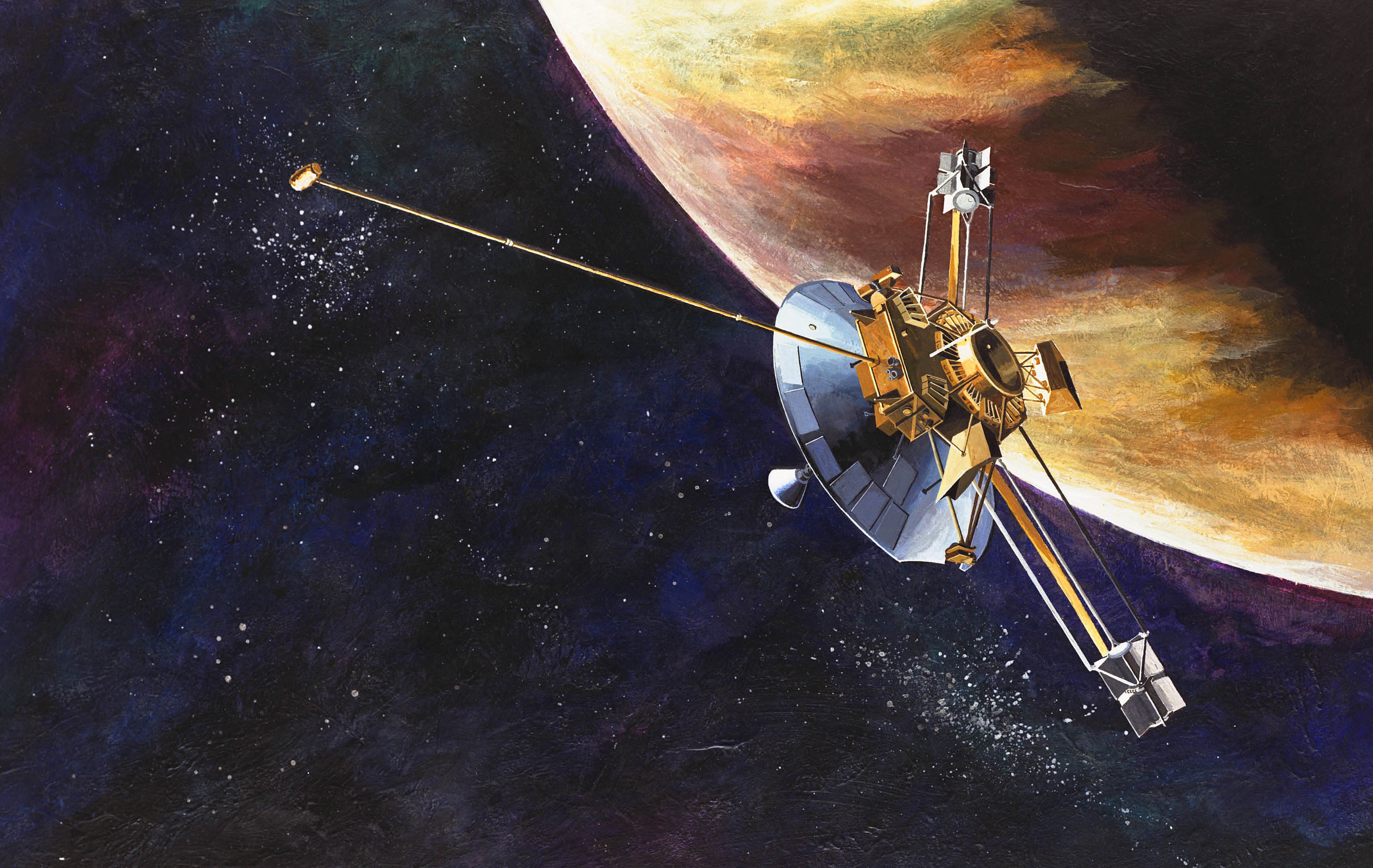 Illustration of spacecraft flying past the limb of Jupiter.