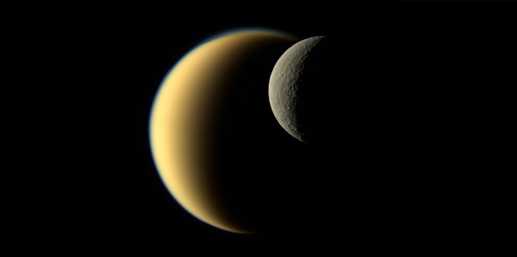 Two crescent moons overlapping in space.