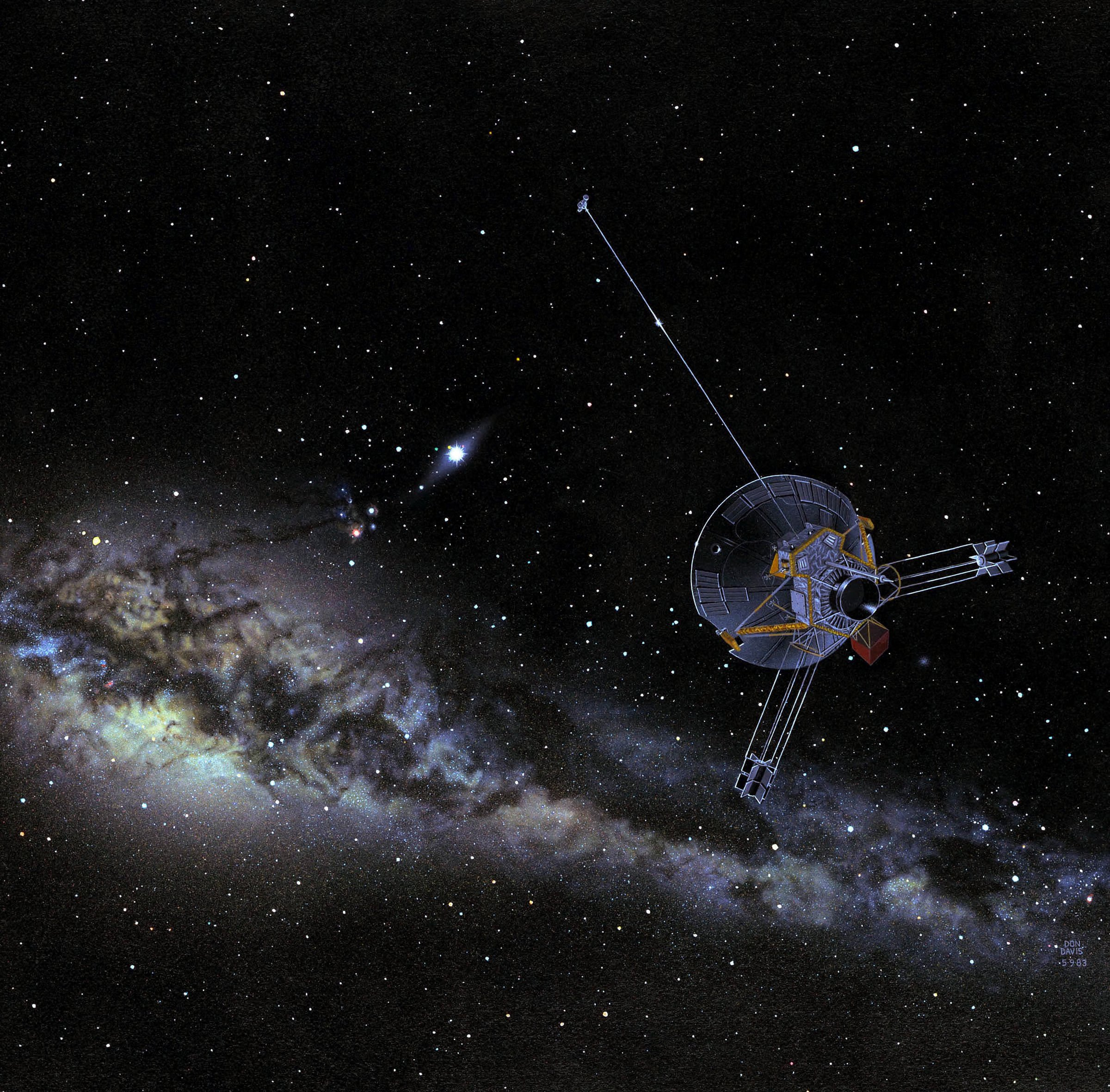 Illustration of spacecraft with Milky Way in the background.