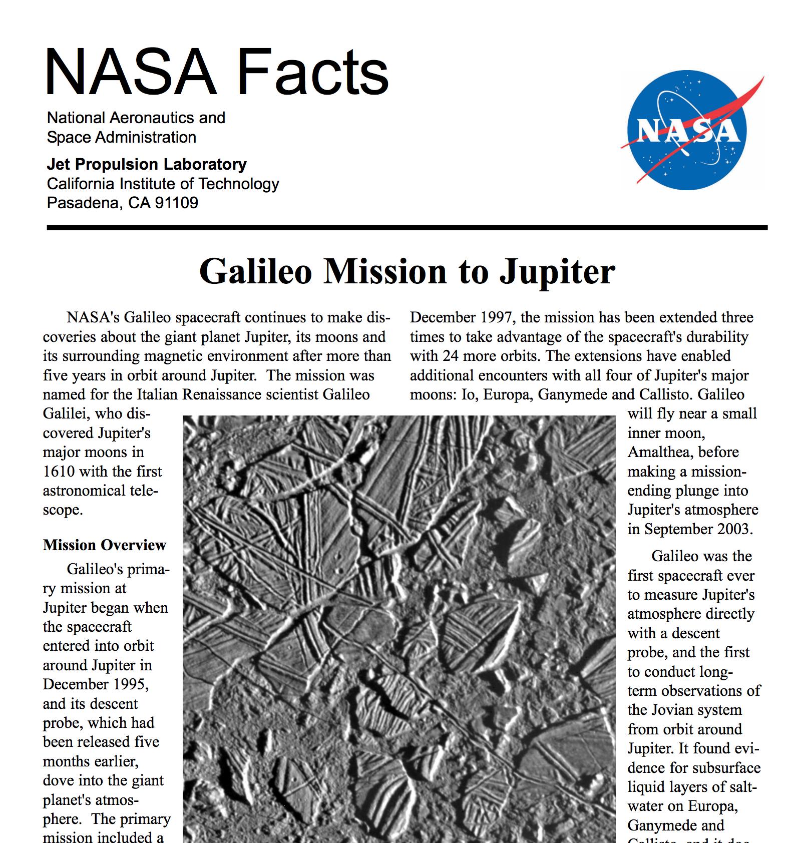 Galileo Fact Sheet | Solar System Exploration: NASA Science