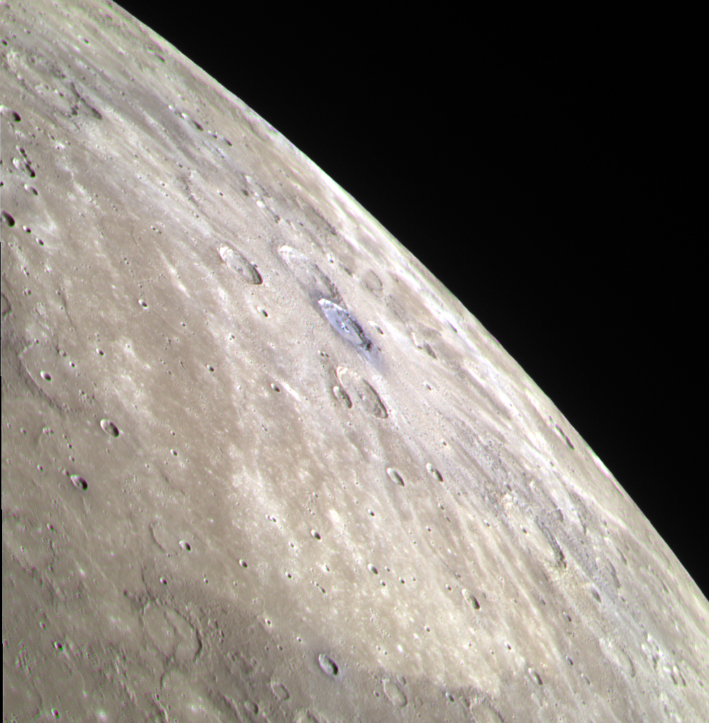 colorful (enhanced color), rocky surface of Mercury
