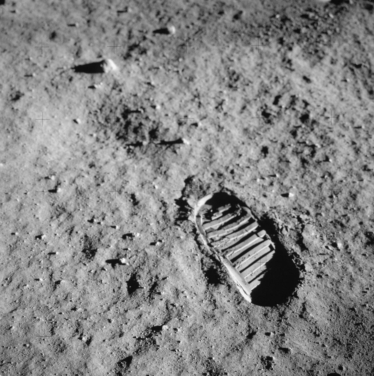 Photograph of close-up of astronaut footprint in lunar soil