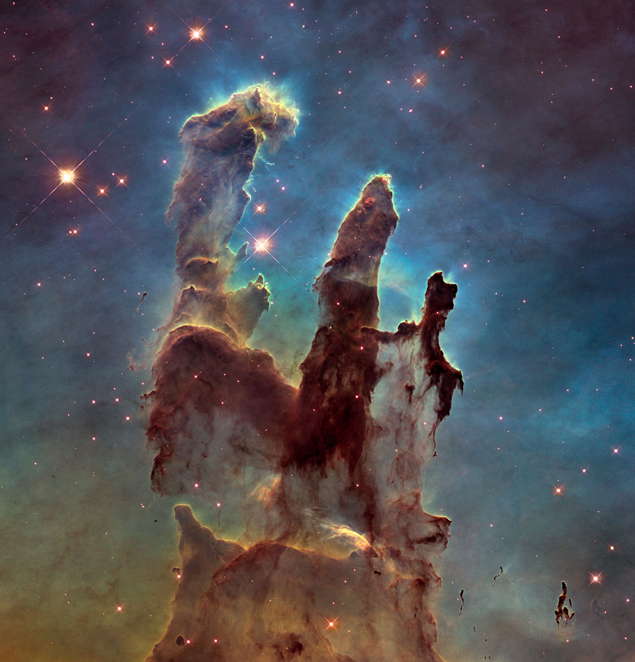 Color image of the Eagle Nebula's Pillars of Creation