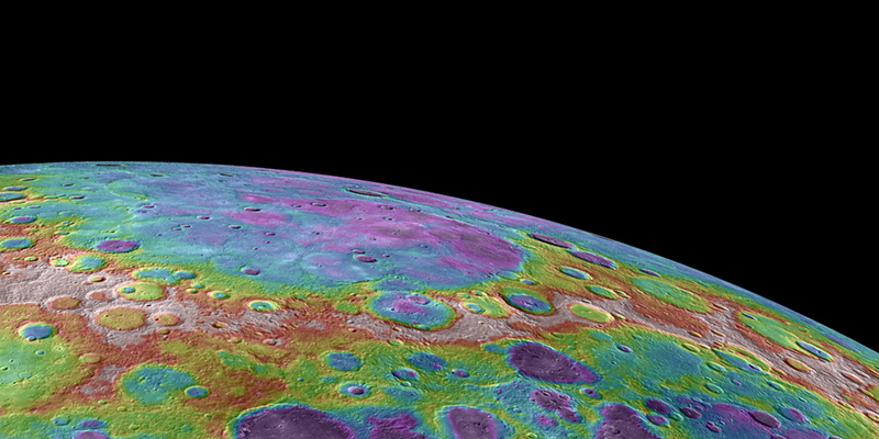 Colorized topographical view of Mercury