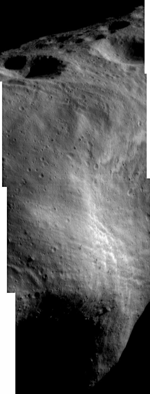 Close-up of asteroid Eros's major features