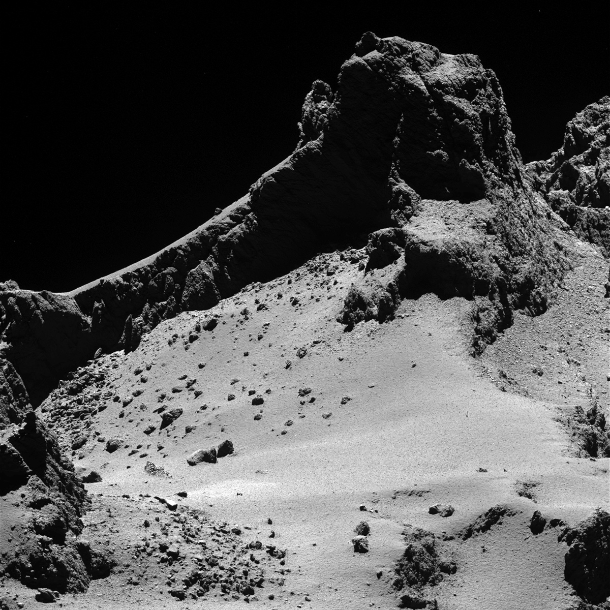 A photo of the smaller of Comet 67P/Churyumov–Gerasimenko's two lobes