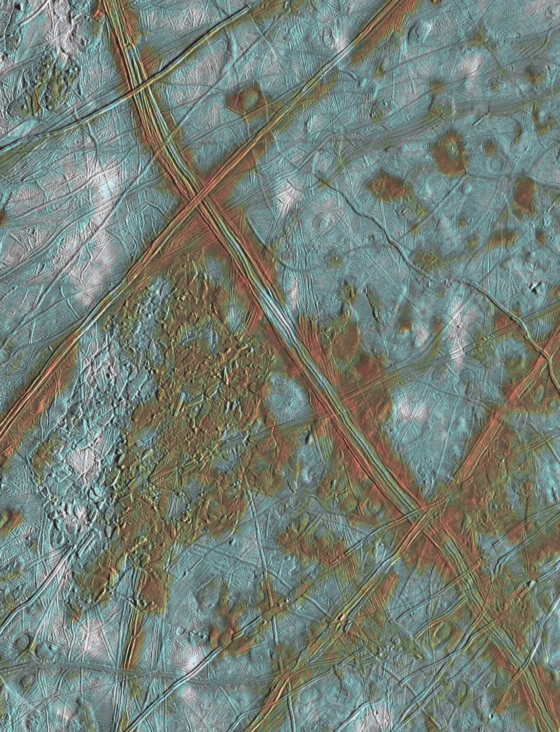 An image of the surface of Europa