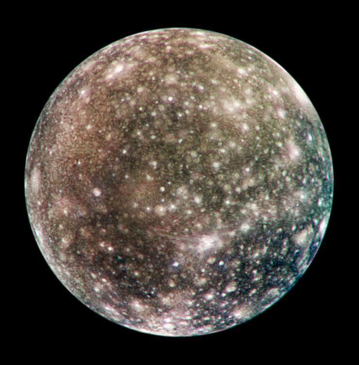 Bright scars on a darker surface testify to a long history of impacts on Jupiter's moon Callisto in this image of Callisto from NASA's Galileo spacecraft.