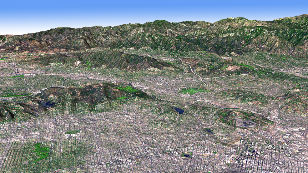 Simulated image of the Los Angeles Basin