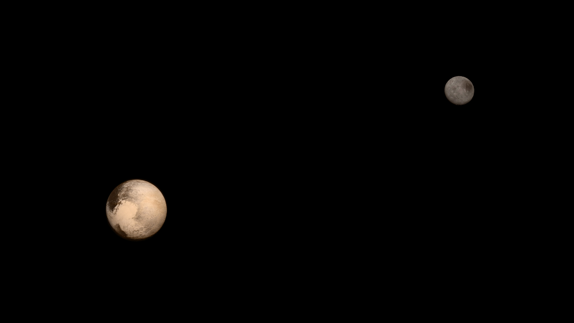Color image of Pluto and its moon Charon