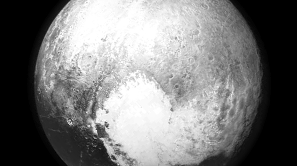 Black and white photo of Pluto