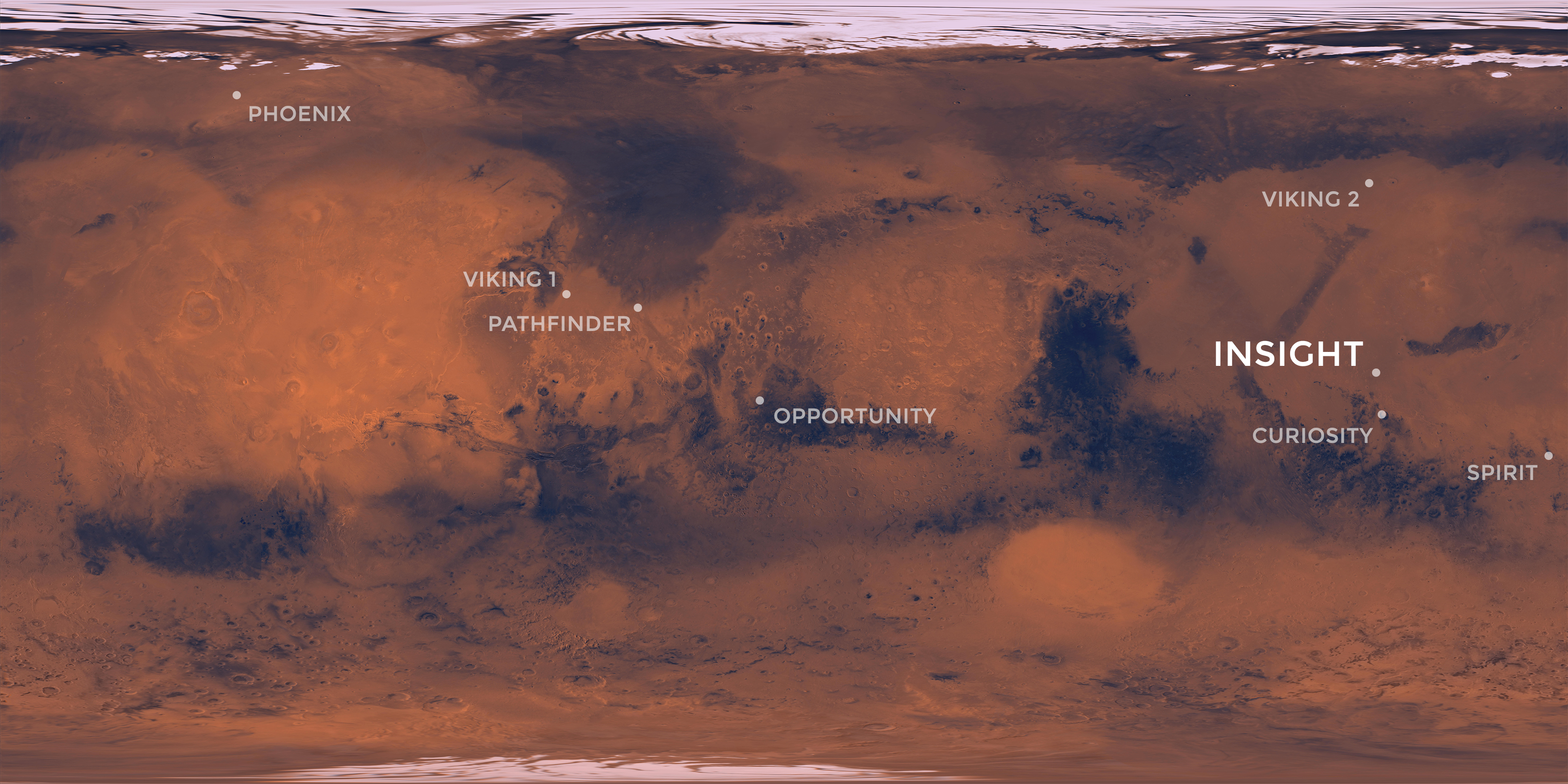 Map of Mars with spacecraft landing sites labeled.