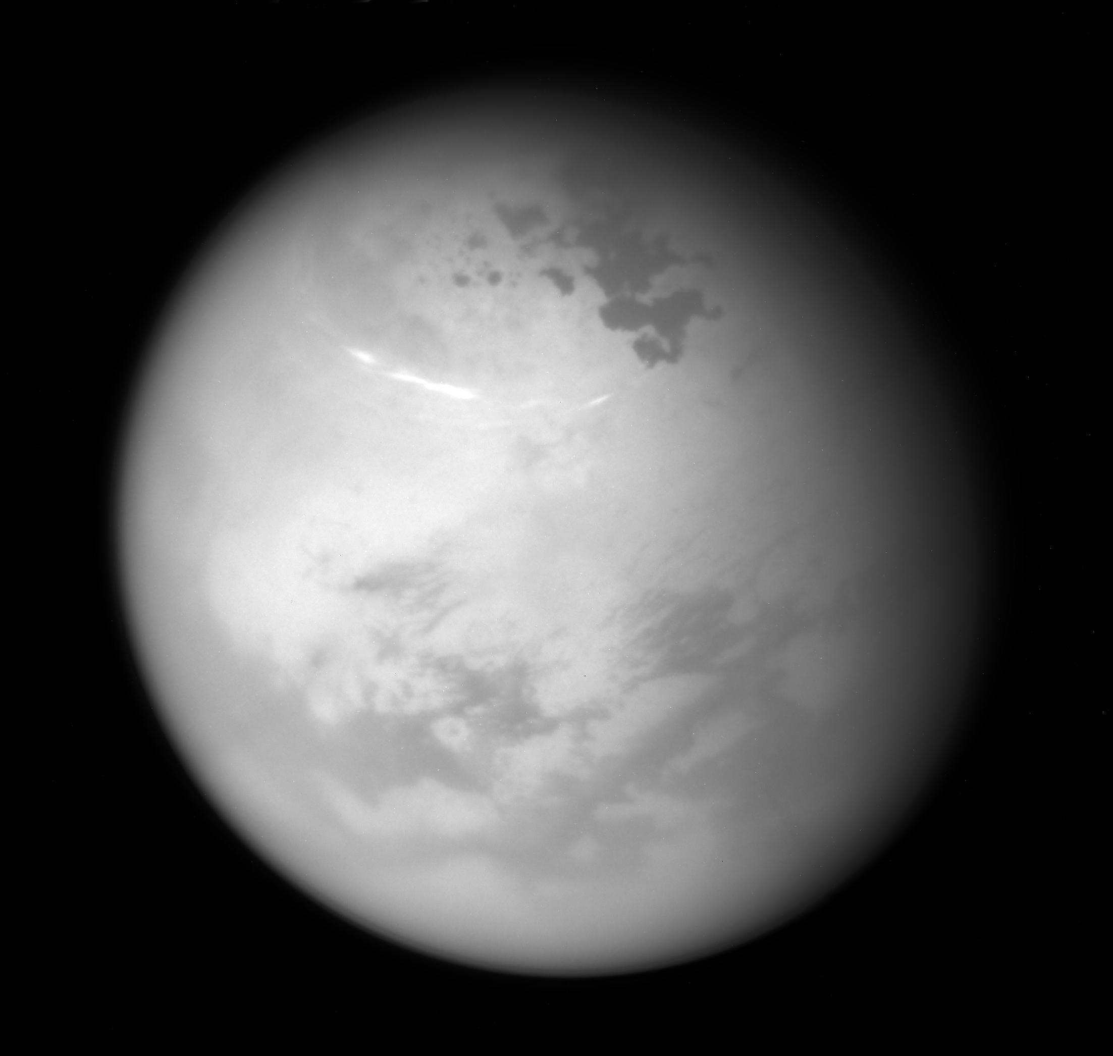 Image of clouds in Titan's atmosphere
