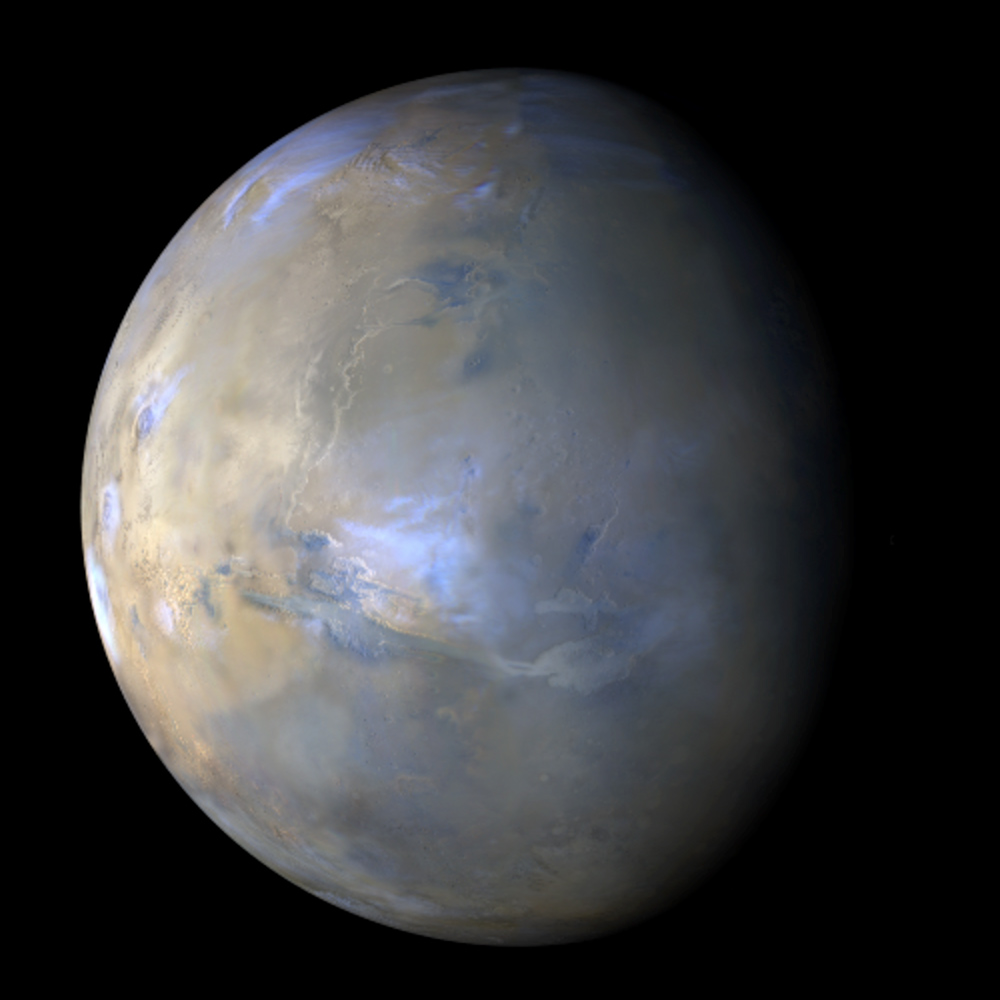 The Mars Color Imager (MARCI) aboard the Mars Reconnaissance Orbiter (MRO) acquires a global view of the red planet and its weather patterns every day.