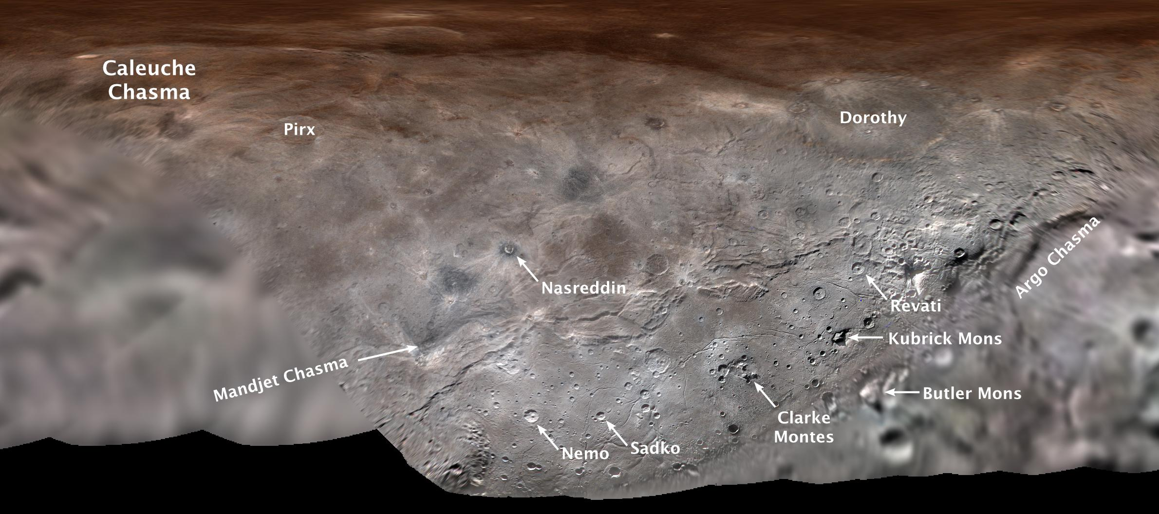 Flat map of Charon with feature names.