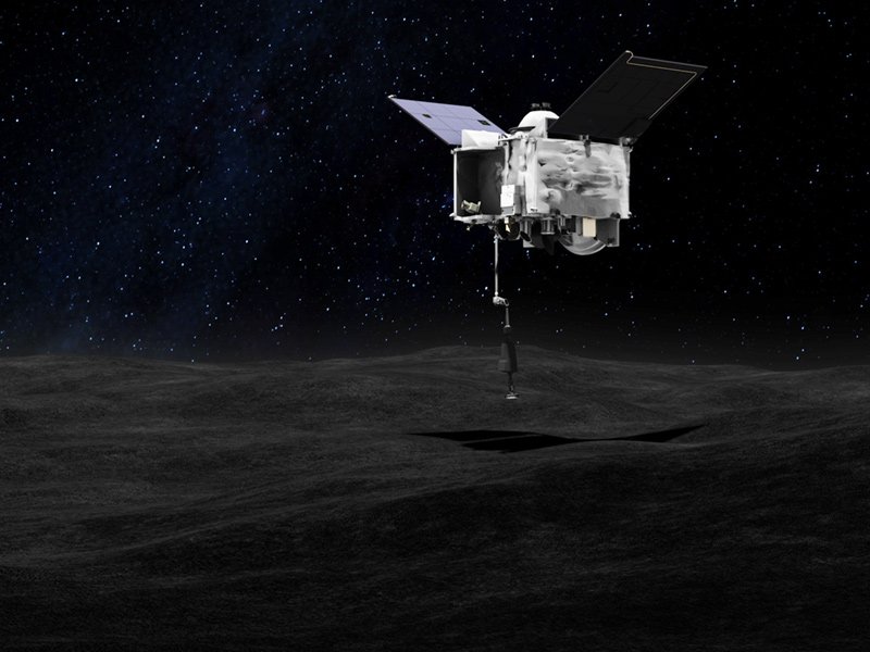 This artist's concept shows the OSIRIS-REx spacecraft collecting a sample from Bennu