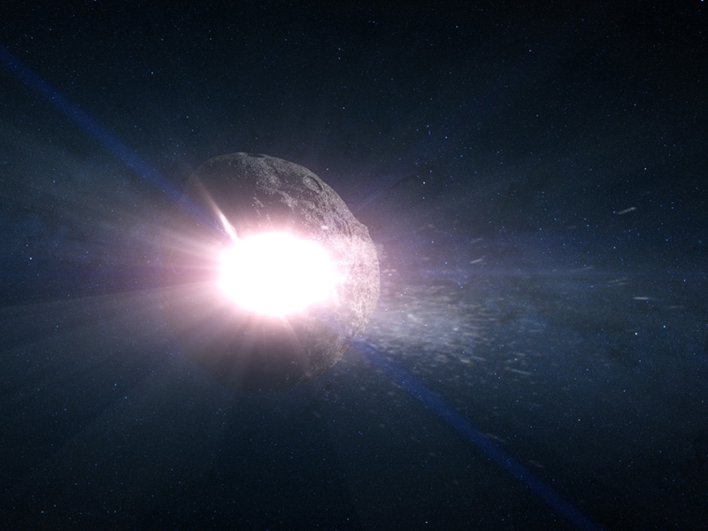 Artist's concept of asteroids in space