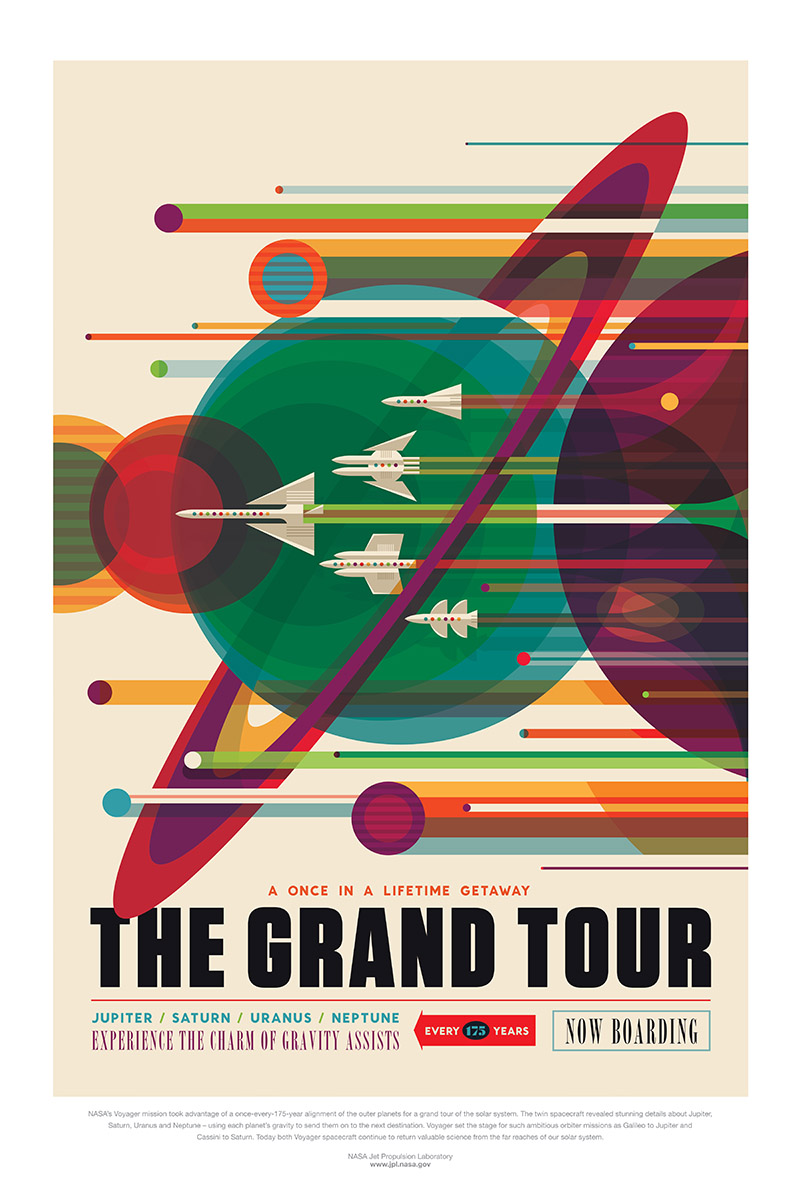 Colorful poster with illustrated spacecraft flying past planets.