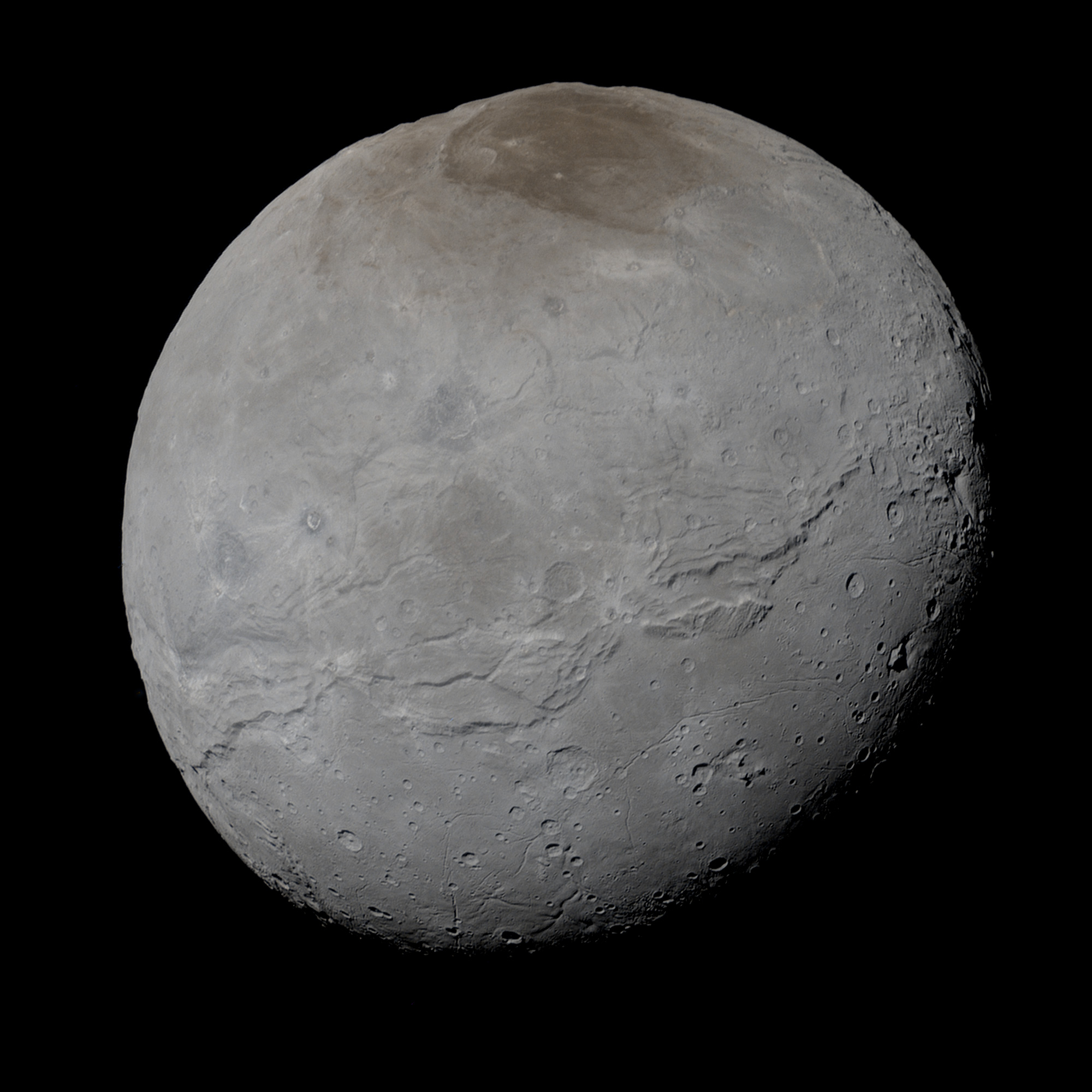 Grayish image of moon Charon.