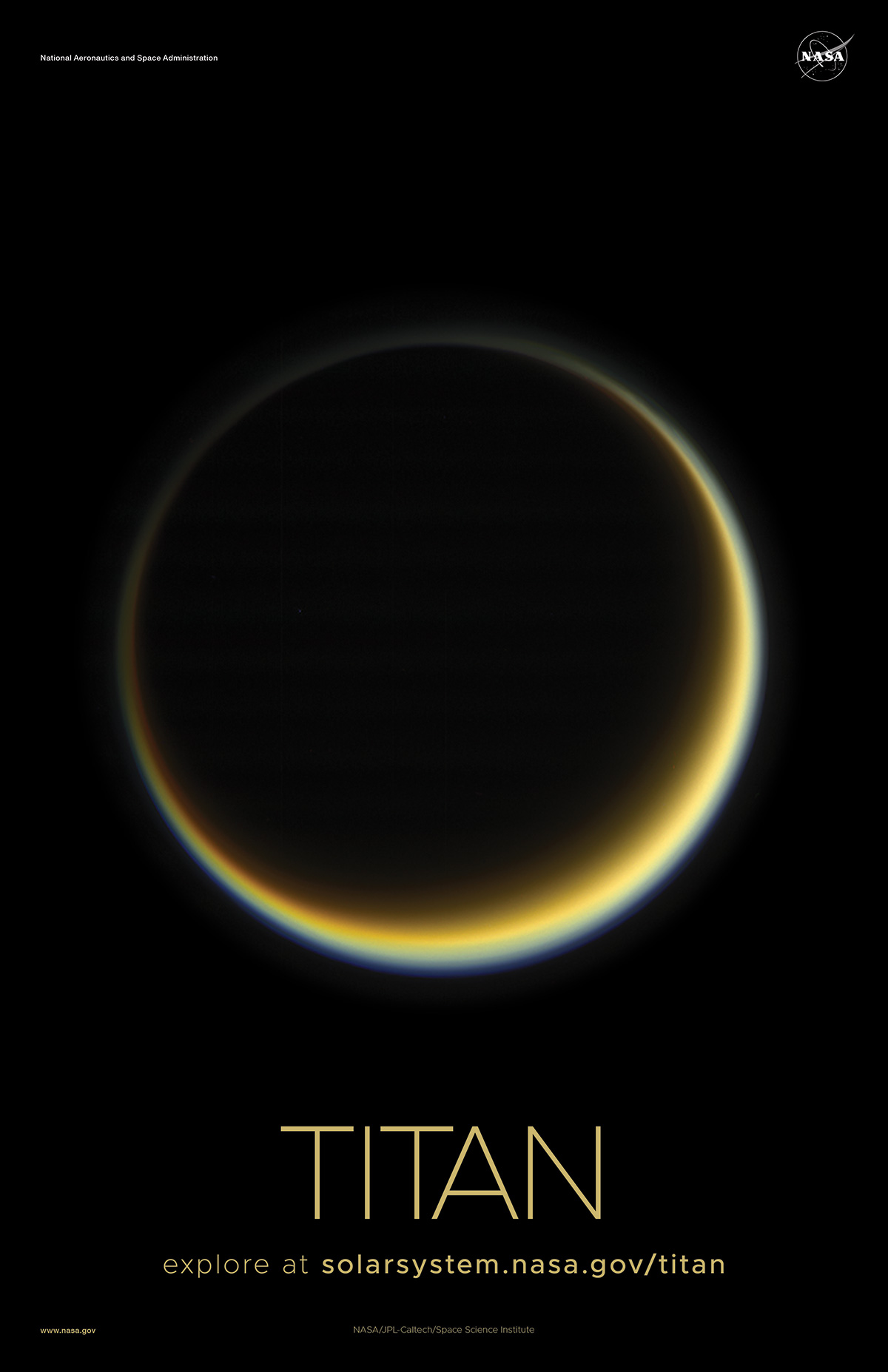 Crescent view of Titan on a poster.