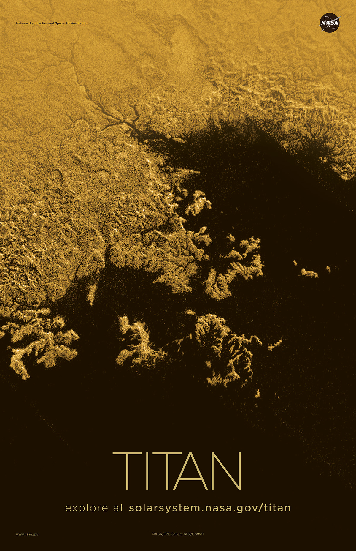 Aerial view of hydrocarbon sea on Titan.