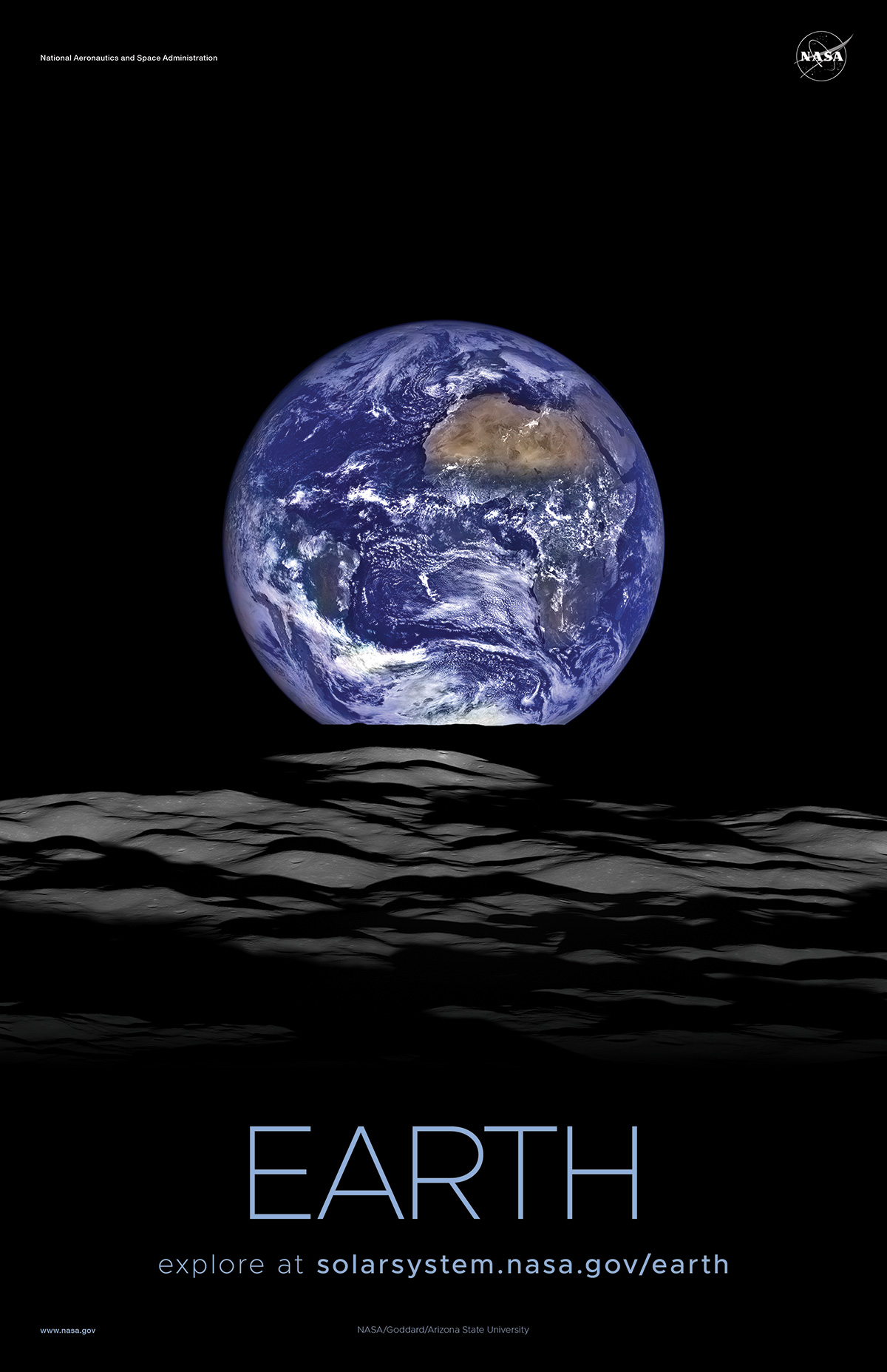 View of Earth rising above the Moon.