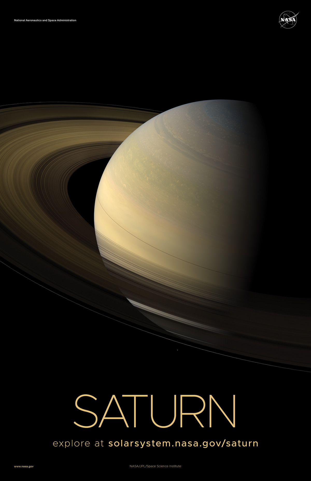 Saturn Poster - Version C | NASA Solar System Exploration View Of The Sun From Saturn