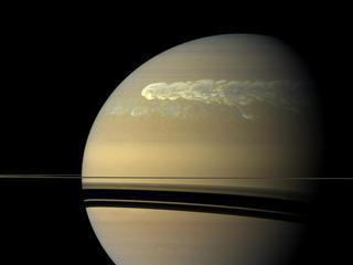 The huge storm churning through the atmosphere in Saturn