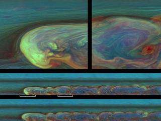 False-color images chronicle a day in the life of a huge storm on Saturn