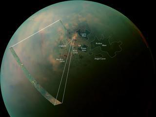 A false-color mosaic of Titan