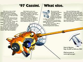 Anuncio simulado que describe los logros de la misión Cassini.