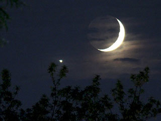 Bright Moon and Crescent Venus