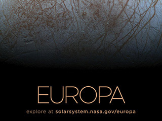 Close up view of the sunlit half of Jupiter's Moon Europa.