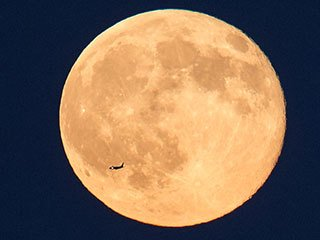 Blue Moon and Jet Over Virginia